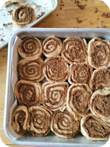 cinnamon rolls after slicing